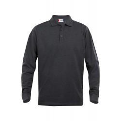 POLOSHIRT LANGE MOUW  CLIQUE CLASSIC LINCOLN 028245 955 ANTRACIET MELEE