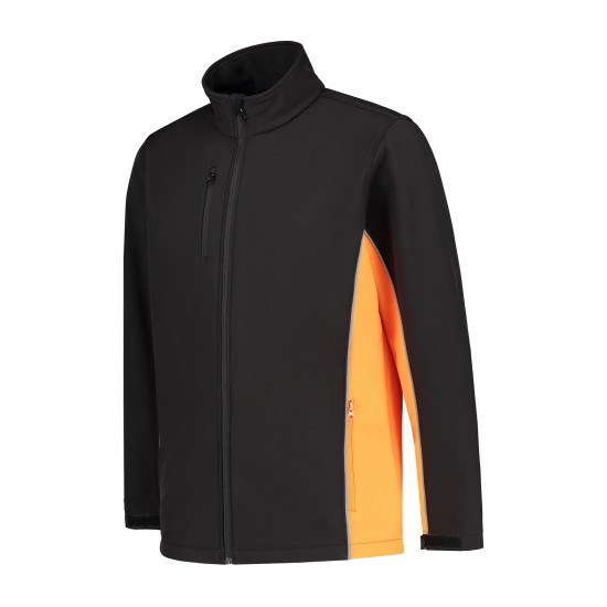 SOFTSHELL JACK L&S WORKWEAR 4800 BLACK ORANGE Bedrijfskleding bouw & industrie